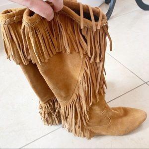 Sam Edelman Moccasin Fringe Boho Boots Size 8